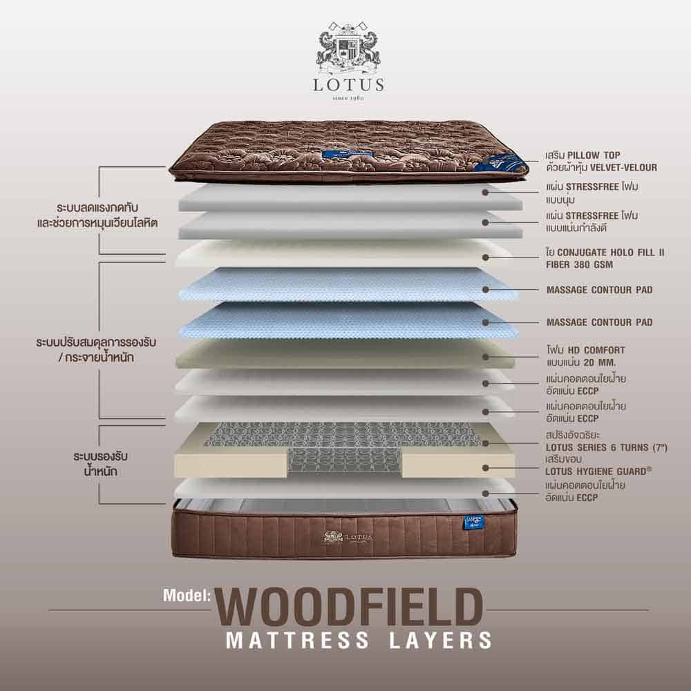 Lotus Mattress Woodfield with Bed Frame Lucia 28