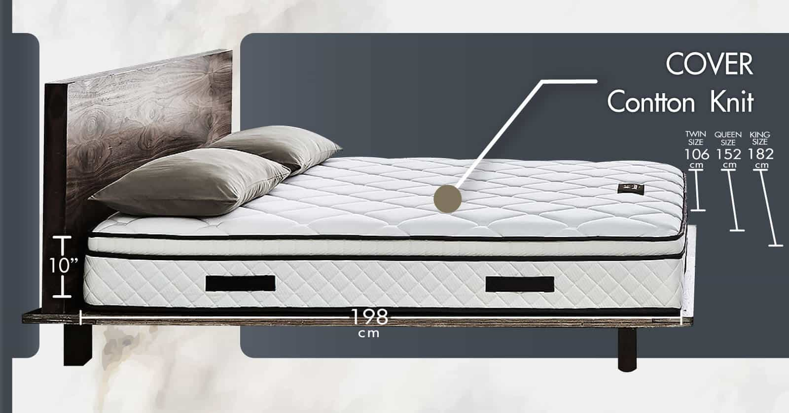 Lotus Foam Spring Mattress Damian – Ideal Firm Mattress – Thickness 10 inches – Warranty 10 years 10