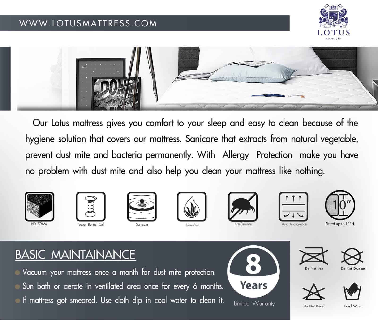 Lotus Foam Spring Mattress Delight – Ideal Firm Mattress – Thickness 10 inches – Warranty 10 years 15