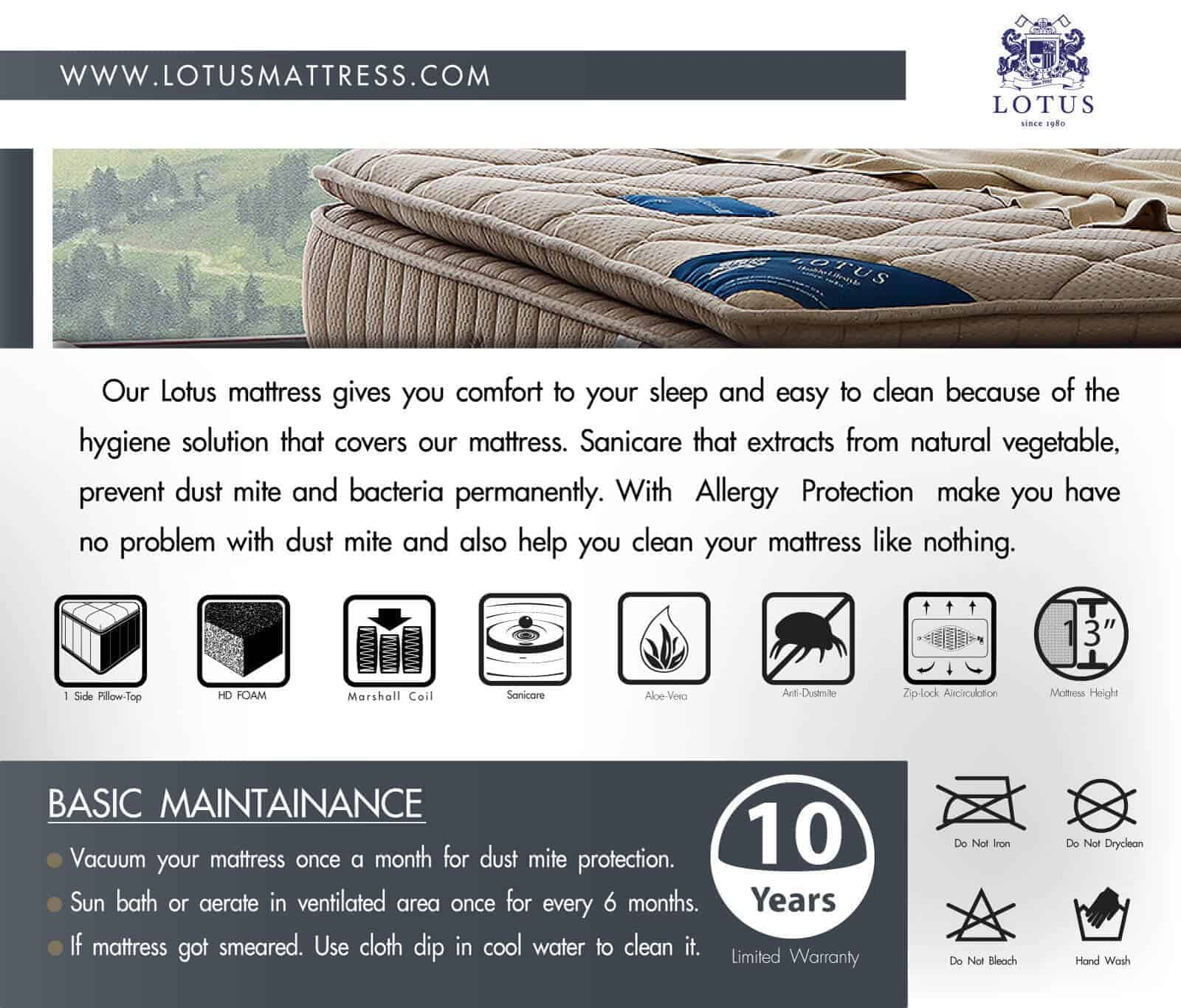 Lotus Foam Spring Mattress Marshall Deluxe III - Good Balance Mattress - Thickness 13 inches - Warranty 10 years 13