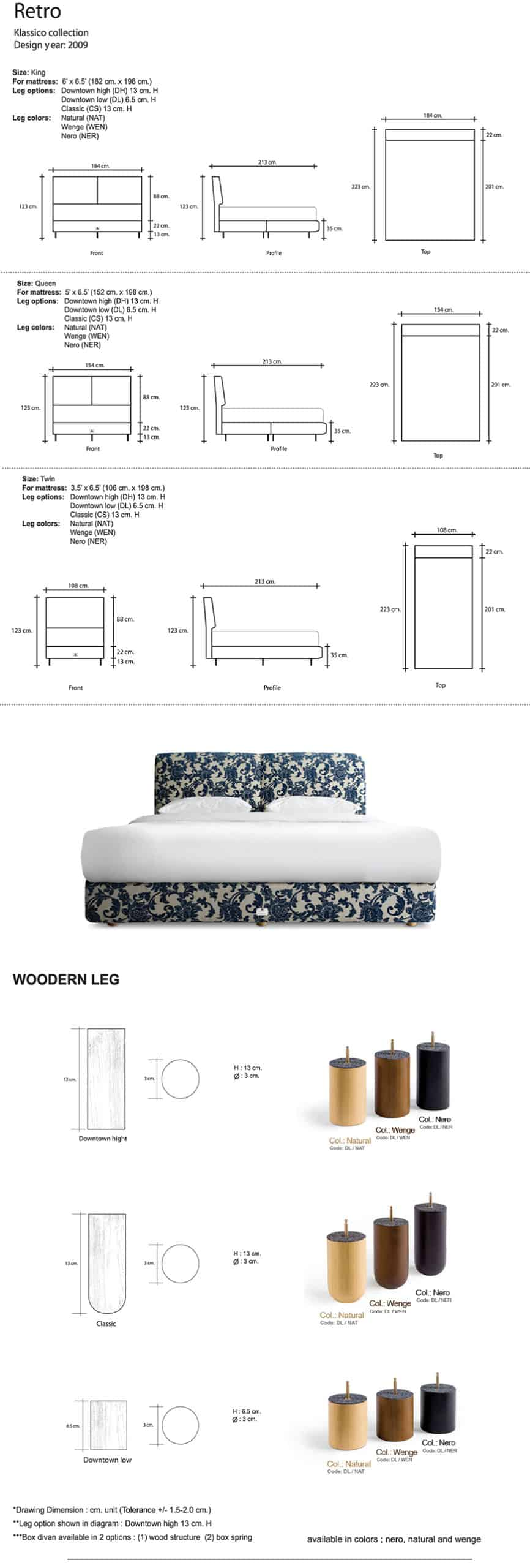 Lotus Bed frame : Retro – Bed Cover Microfibre Fabric and PU Leather - Wooden Legs 7