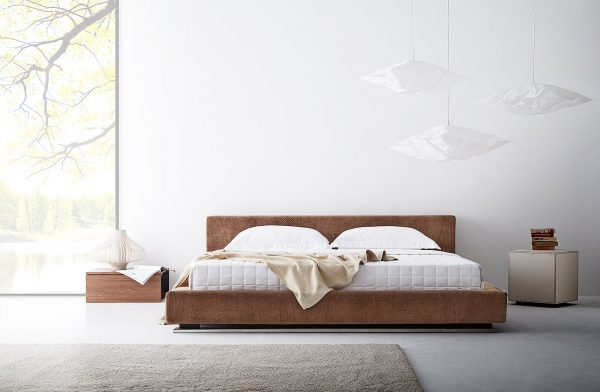 Lotus Bed Frame : Marcelli With Cover – Microfibre Fabric and PU Leather : Leg – Chromed Metal 1