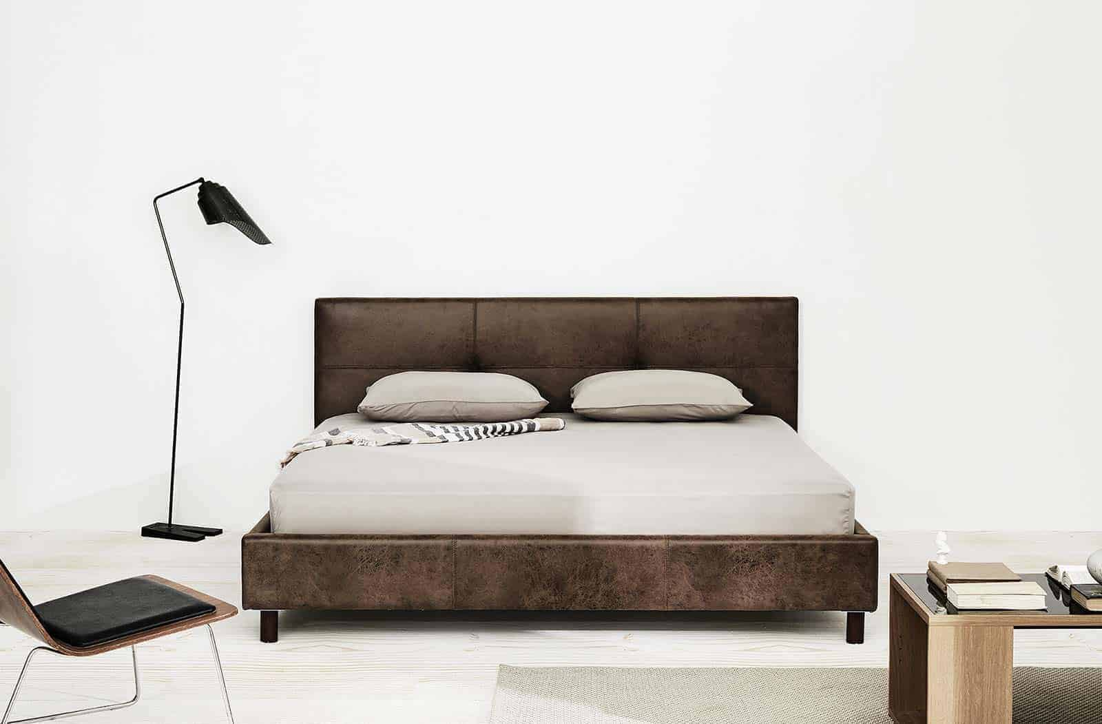 Lotus Bed frame : BedSense-01  - PU Leather : Leg – Wood 13