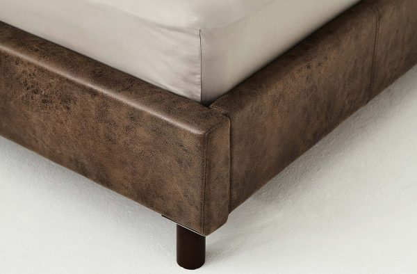 Lotus Bed frame : BedSense-01  - PU Leather : Leg – Wood 10