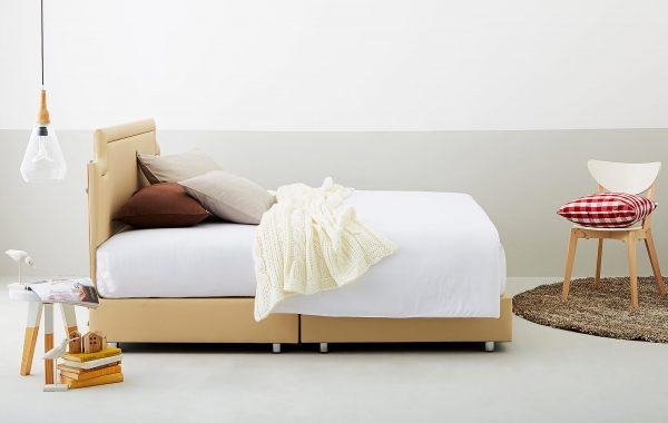 Lotus Bed Frame : Lemoore - Bed Cover : Microfibre Fabric and PU Leather - Leg : Chromed Metal and Swivel Caste 1