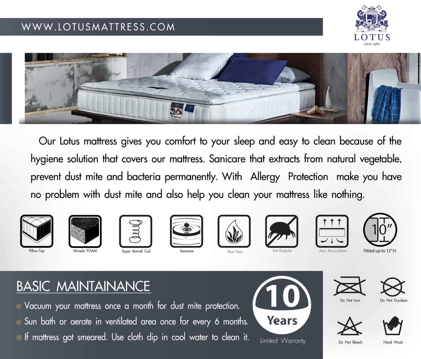Lotus Spring Mattress Aritz – Extra Firm Mattress – Thickness 10 inches – Warranty 10 years 12